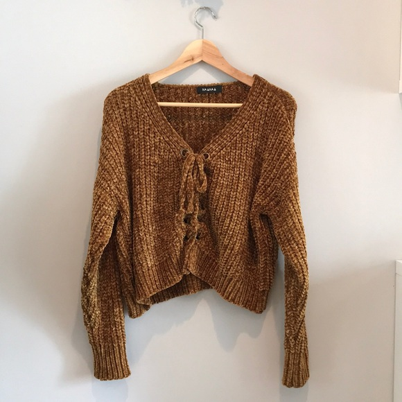 Nasty Gal Sweaters - Nasty Gal lace-up chenille sweater